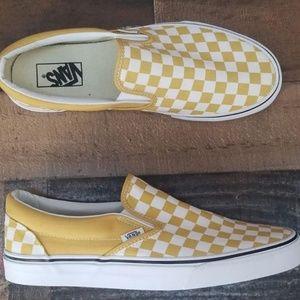 dc7664e0e23e88 Vans Shoes - Vans Slip-On Ochre White Checkerboard Skate Shoes